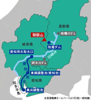 牧尾ダムの位置